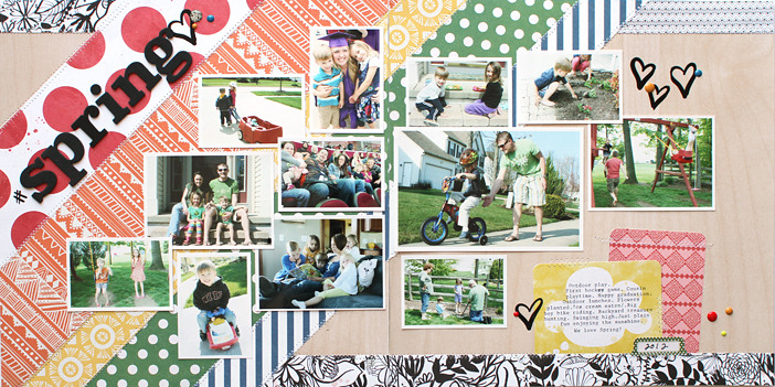 #SpringLove double page layout by Shelly Jaquet #MME #MyMindsEye